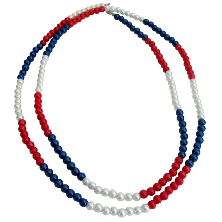 Patriotic Day Long Necklace Red White Blue Pearls
