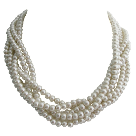 Bridal Twisted Ivory Pearl 6 Strand Necklace Wedding Pearl Statement
