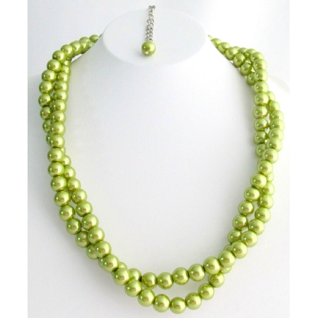 Old Era Necklace Olive Green Pearls Twisted Double Strand