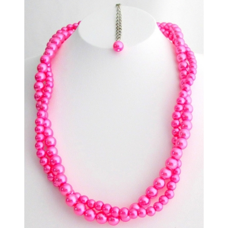 Custom Twisted Necklace For Bridesmaid Flower Girl Hot Pink Necklace