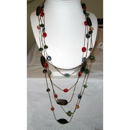 Long chain Multi Strands Beads Stone Necklace-WOW
