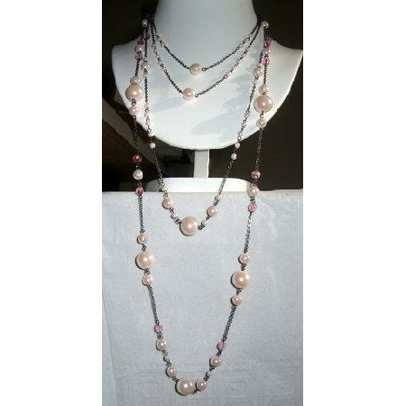 Long chain Pink simulated Pearls Necklace Necklace-WOW