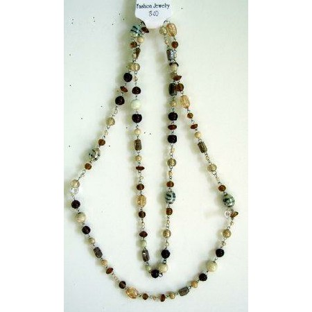 Long Necklace Cream Brown Light & Dark Beads