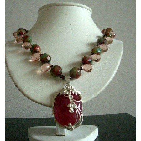 Greenish Red Agate Stone and Crystal Tear Drop 21 Inches Necklace