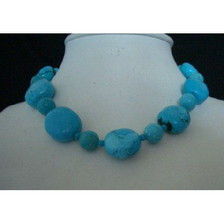 16 inches Choker Natural Blue Turquoise Necklace w/ silver clasp