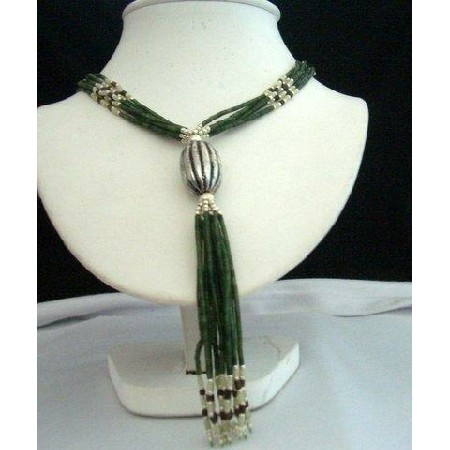 Jade Bead Necklace Metal oval Clasp 34 inches till the below Silver