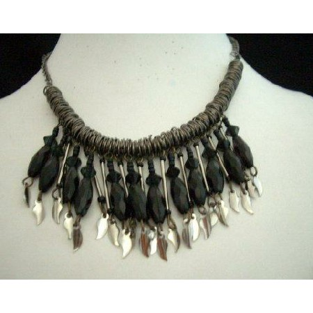 Antique Oxidised Metal Choker Bead Necklace w/ Leaf hanging
