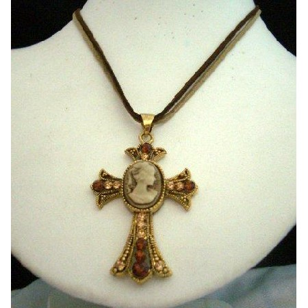 Victorian Cross Pendant Khakhi & Brown String Lady Necklace