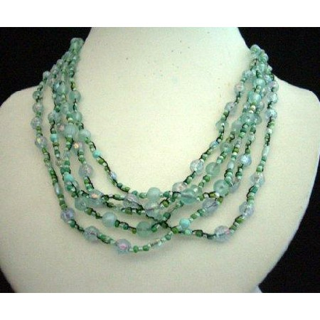 Acrylic & Glass Bead Multi Strands Necklace