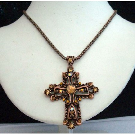Victorian Cross Pendant In Copper Oxidized Chain & Pendant in Brown