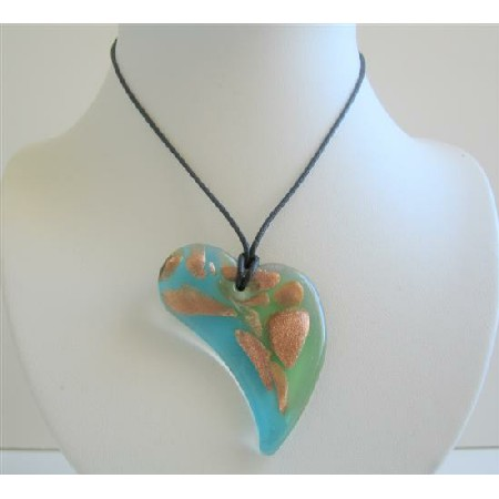Glass Hand Painted Pendant Necklace Heart Painted Pendant Necklace