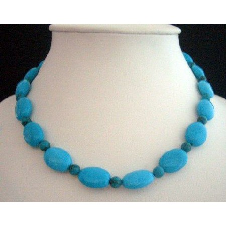 Handcrafted Turquoise Necklae Natural Blue Choker