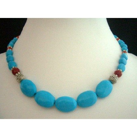 Turquoise Blue w/ Bali Oxidized & Red Coral Bead Handcrafted Necklace