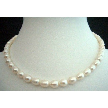 White Freshwater Pearls Necklaces 16 inches Choker