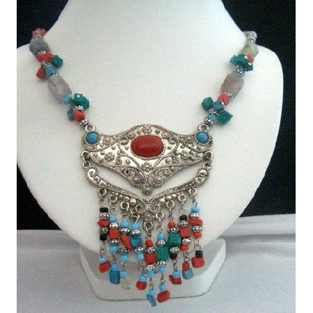 Handcrafted Necklace Natural Turquoise & Coral Bead w/ Bali Oxidized