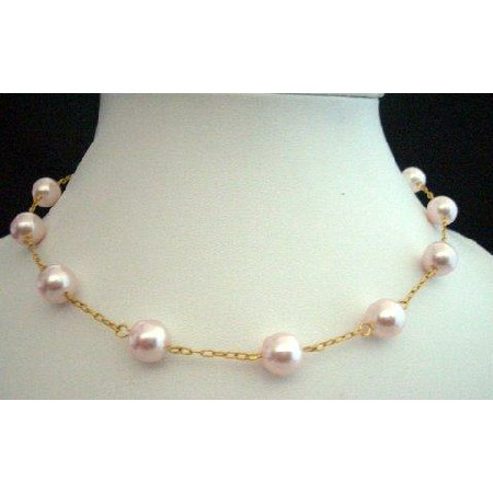 Handcrafted 15 inches Choker 22k Gold Plated Chain w/ Swarovski Pearl