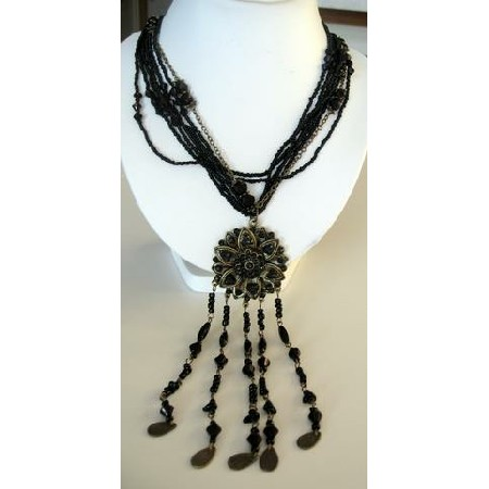 Long Necklace Multi Strand Black Color w/ Antique Gold Round Pendant