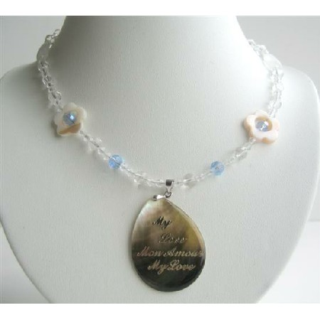 Simulated Clear & AB Crystals Necklace w/ Oval Shell Pendant My Love