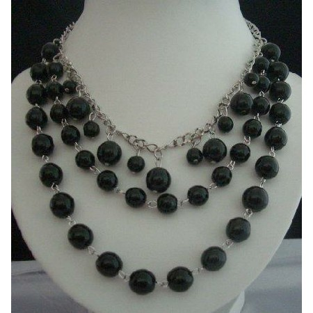 Cultured Black Pearls Necklaces w/ Three Strands Together