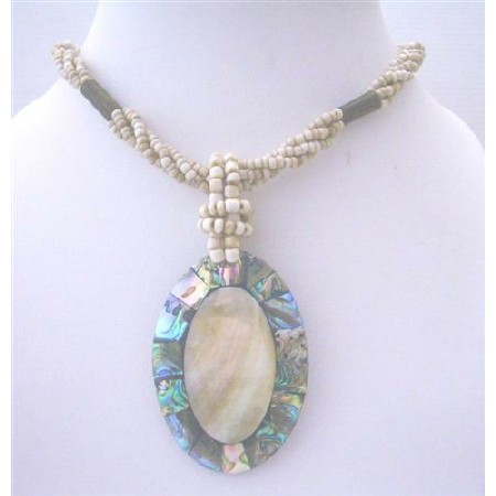 Multi Strands Necklace w/ Abalone Shell Pendant Cream Color