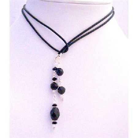 Black Onyx Crystals Beads Round w/ Clear Crystal Lariat Necklace