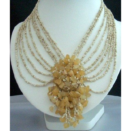 Multi Strands Choker Cream Beads w/ Floral Dangling Necklace