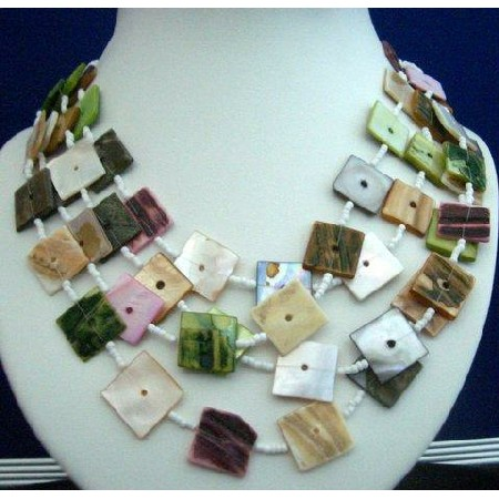 Multi Strand Necklaces White Bead w/ Multi Colored Shell Square Shaped