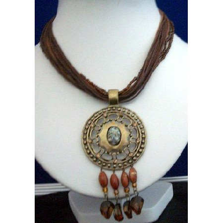 Multi Stranded Necklace Brown Strings w/ Antique Gold Pendant Dangling
