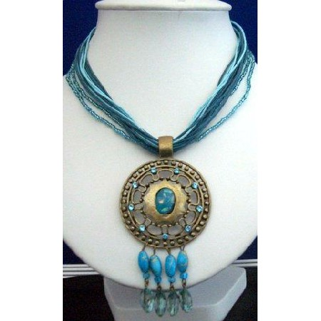 Multi Strands Blue Strings Necklace w/ Antique Gold Pendant & Dangling