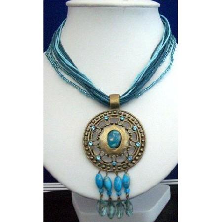 Multi Strands Blue Strings Necklace w/ Antique Gold Pendant & Dangling
