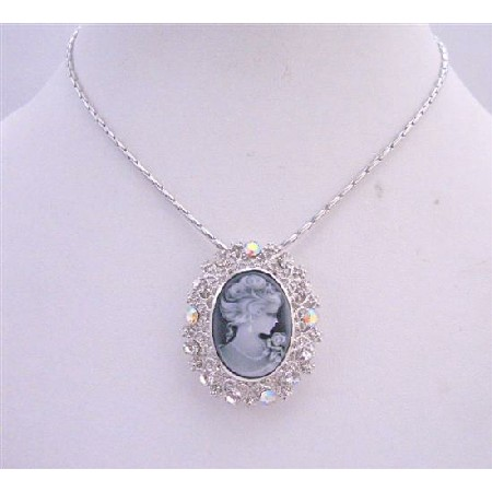 Victorian Lady Brooch Pendant Silver Casting Cameo Pendant Necklace