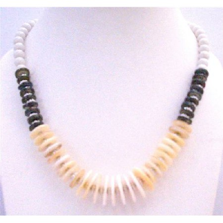 Natural Color Rings w/ Black Rings & White Pearls Classy Necklace