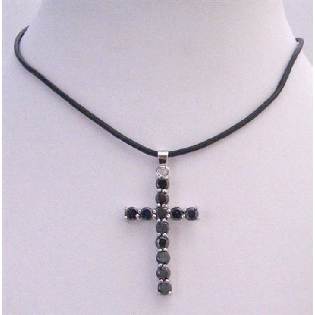 Crystal Long Black Cross Pendant Necklace Leather Cord Necklace