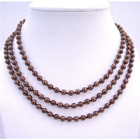 Beaded Pearls Espresso Pearls Long Necklace 2 or 3 Stranded Necklace