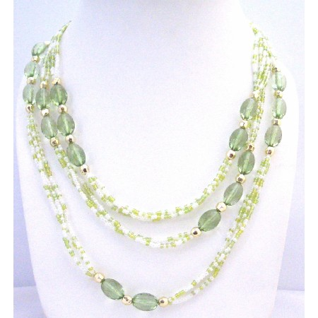 Green Fancy w/ Tiny White Beads Long Fancy Lucite Beads Long Necklace