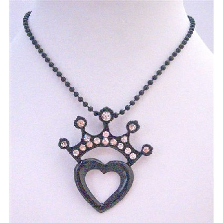 Black Beaded Long Necklace w/ Crown Heart Pendant Stunning Pendant