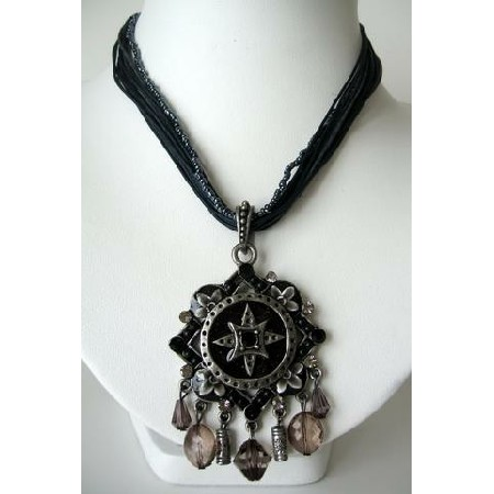 Multi Strands Necklace Dark Blue(Navy) & Black Srings w/ Black Pendant
