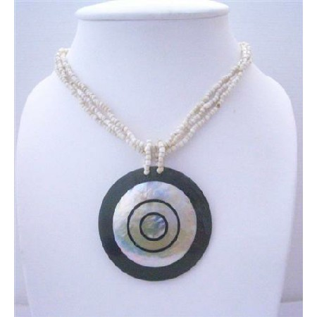 Necklace Multi Strands Indonesia Cream w/ Mother Shell Pendant