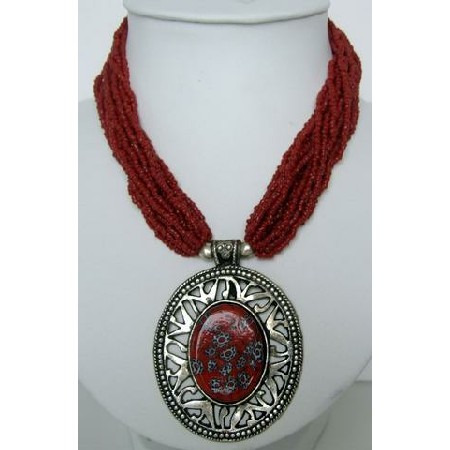 Oxidized Round Pendant Red Beaded Necklace