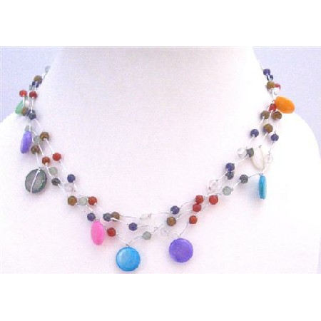 Fancy Multi Beads Multi Shell Summer Three Stranded Choker Necklace