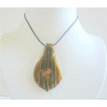 Ethnic Leaf Glass Painted Necklace Natural COlor Painted Pendant