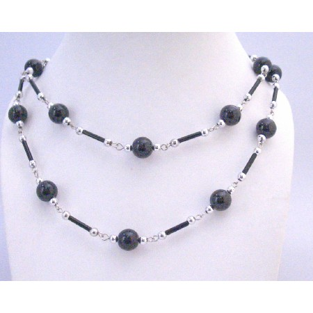 Black Pearl Black Pipe Silver Beads Long Summer 56 Inches Necklace