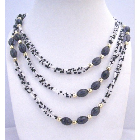 Black White Lucite Beads Long Necklace Gold Beads Spacer Long Necklace