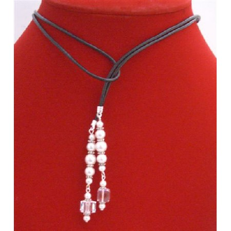 White Pearls Lariat Necklace w/ Swarovski Cube Clear Crystals