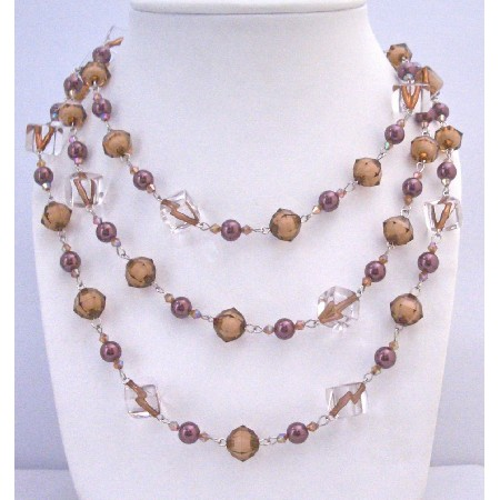 Brown Pearls Clear Crystals Long Necklace Wear 2 or 3 Strands Necklace