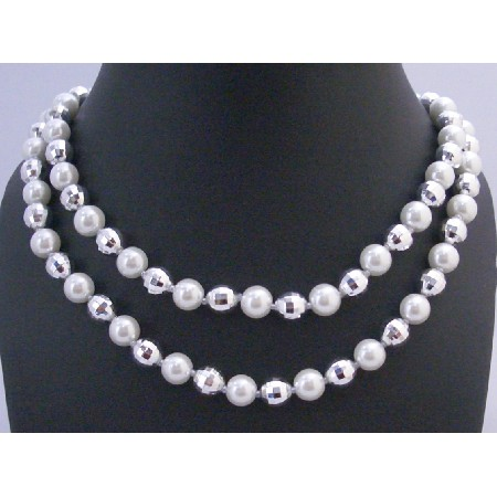 White Pearls Multifaceted Bead Long Necklace 64 Inches Long Necklace
