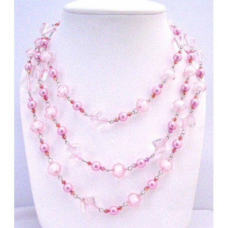 Pink Beads Pearls Multi Sizes Trendy Bead Long Necklace