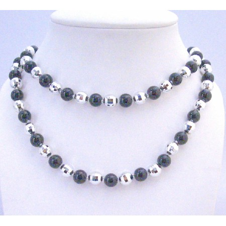 Fashionable Beads Black Pearl Multifaceted Bead Long Fancy Necklace