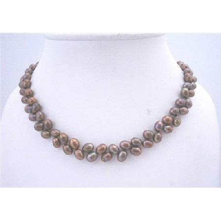 Brown Metallic Rice Shaped FreshWater Pearl Necklace Jewelry