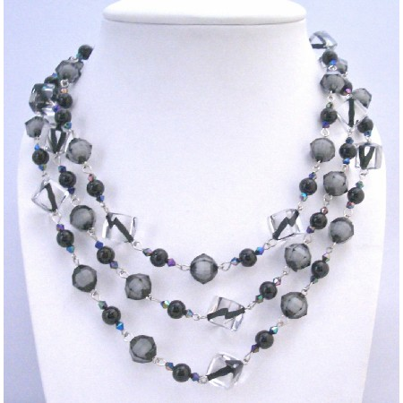 Black Pearls Black Diamond Clear Crystals 60 Inches Long Necklace